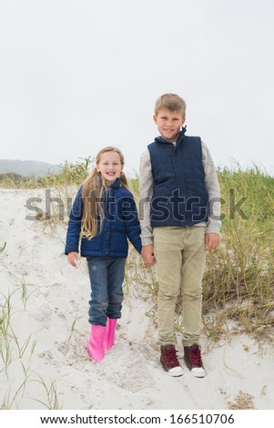 Full length of a happy brother and sister standing hand in hand at the beach