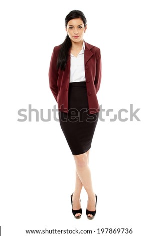 Full length of a hispanic businesswoman isolated on white - stock photo