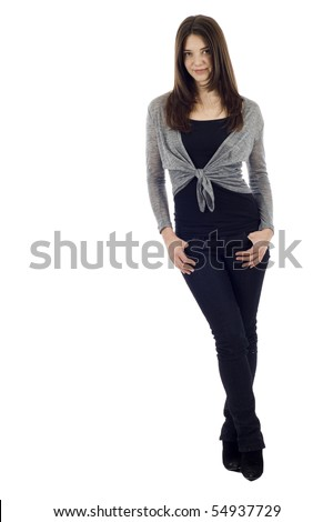 Full length of a young business woman isolated over white background - stock photo