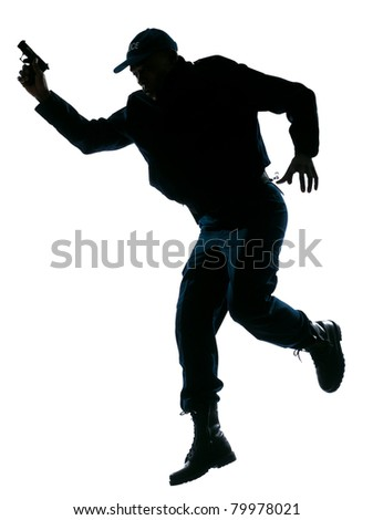 Full length of an afro American police officer running with a handgun on white isolated background - stock photo