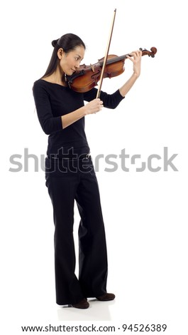Full length of an Asian woman playing the violin isolated over white background