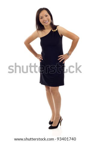 Full length of an Asian woman with hands on hips isolated over white background - stock photo
