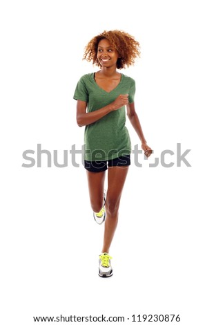 Full length of beautiful black fitness girl running and looking to the side isolated over white - stock photo