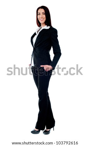 Full length of beautiful stylish businesswoman isolated