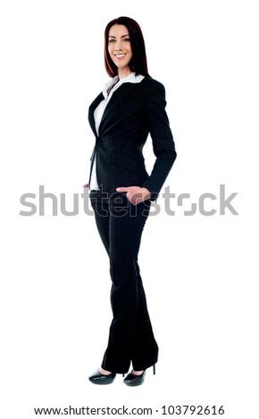 Full length of beautiful stylish businesswoman isolated - stock photo