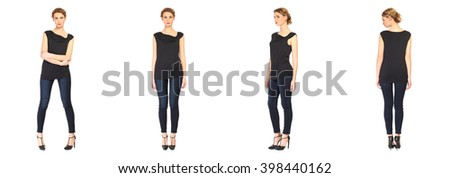 Full length of beautiful woman in blouse and jeans - stock photo