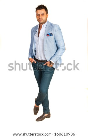 Full length of business man isolated on white background
