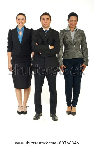 Full length of business people teamwork isolated on white background - stock photo