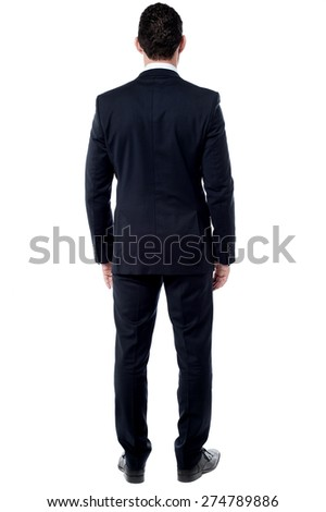 Full length of businessman from back - stock photo