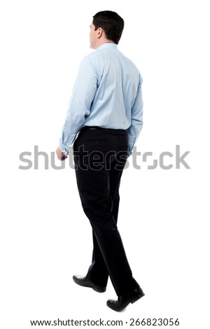 Full length of businessman going forward - stock photo