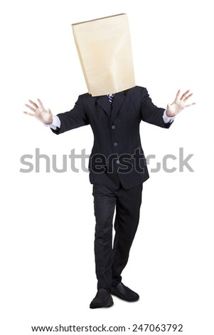 Full length of businessperson walking in the studio with blindfold, isolated on white - stock photo