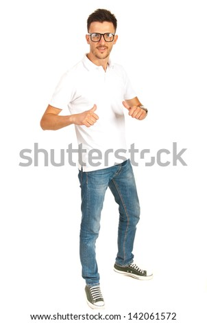 Full length of casual man in white t-shirt and jeans showing to him isolated on white background - stock photo