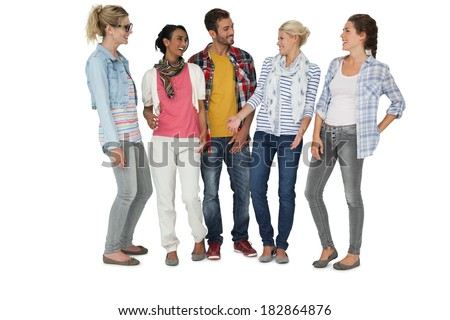Full length of casually dressed young people over white background