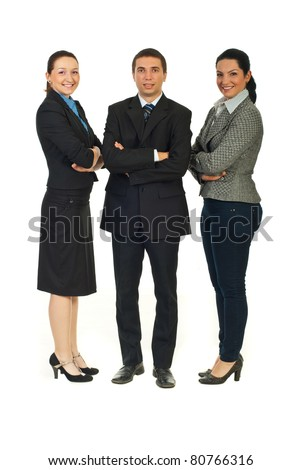 Full length of cheerful business people standing in a row with arms folded isolated on white background - stock photo