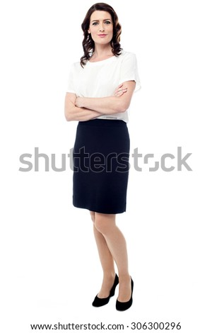 Full length of confident young business woman - stock photo