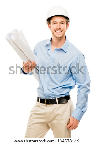 Full length of confident young bussinessman architect on white background
