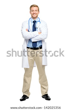 Full length of confident young doctor on white background - stock photo