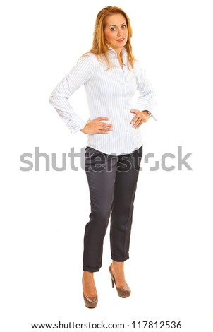 Full length of executive woman isolated on white background - stock photo