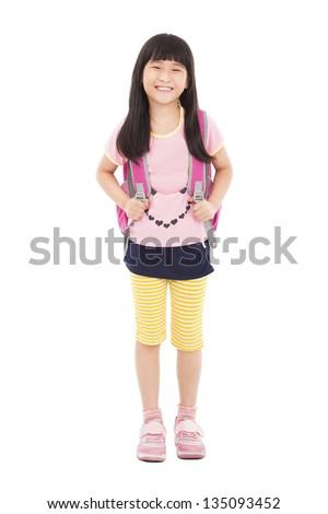 full length of happy little girl standing - stock photo