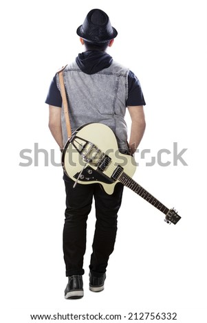 Full Length Of Male Guitarist With Guitar Rear View Isolated On White Background