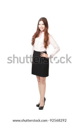 Full length of pretty business woman smile standing isolated on white background, model is a asian female - stock photo