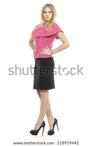 Full length of pretty young business woman smiling on white background - stock photo