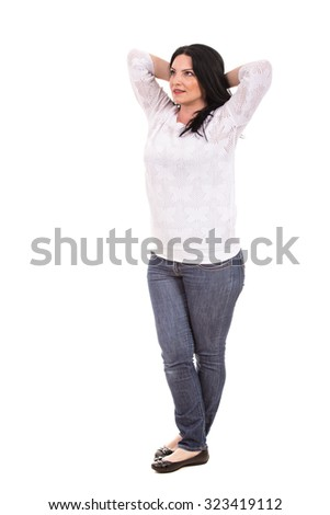 Full length of relaxed woman looking away isolated on white background