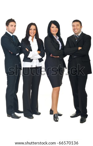 Full length of smiling  business people group standing in a row with hands folded isolated on white background - stock photo