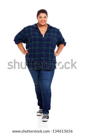 full length of smiling teenage girl over white background - stock photo