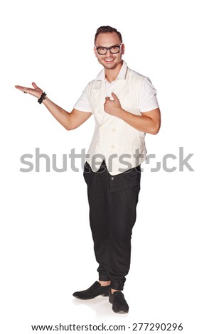 Full length of stylish happy man showing holding blank copy space on the palm, over white background - stock photo