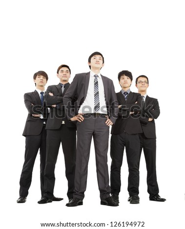 full length of successful business team - stock photo