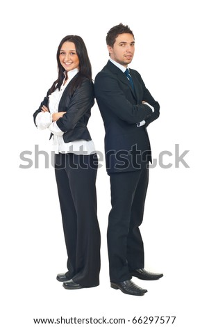 Full length of two young business people standing back to back with hands crossed isolated on white background - stock photo