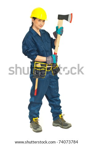 Full length of worker female holding axe isolated on white background