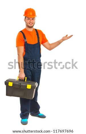 Full length of worker man making presentation isolated on white background - stock photo