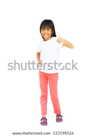 Full length of young asian girl showing thumbs up, Isolated over white with clipping path - stock photo