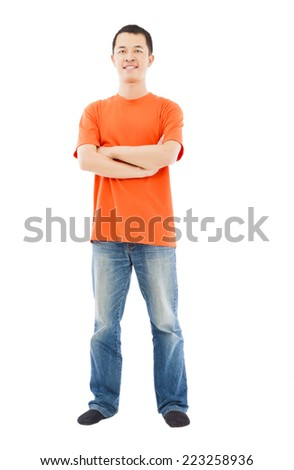 full length of young asian man standing. isolated on white background - stock photo