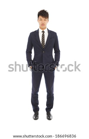 Full length of young businessman standing - stock photo