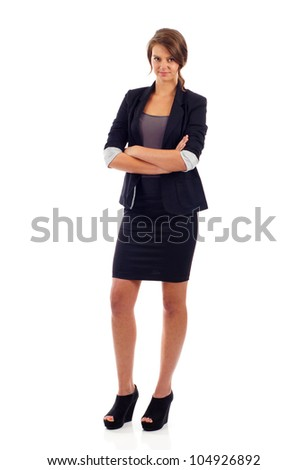 Full length of young confident business woman with crossed arms isolated over white background - stock photo
