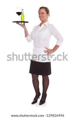 Full length photo of a waitress serving drinks on a tray, isolated on a white background. - stock photo