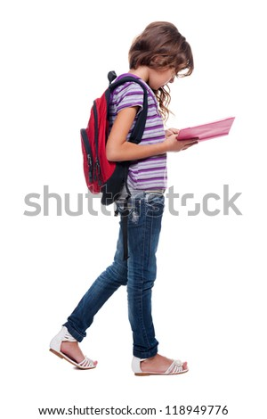 full length photo of little pupil with book - stock photo