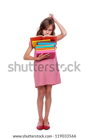full length photo of little thoughtful pupil with books. isolated on white background - stock photo