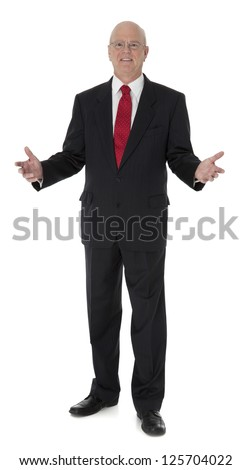 Full length photo of mature businessman in black suit, standing on white background