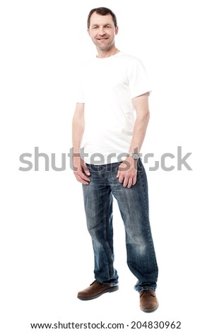 Full length picture of a casual middle aged man - stock photo