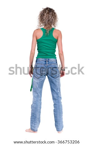 full length picture of a casual young woman standing - stock photo