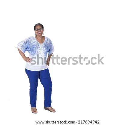 Full length picture of confident older woman - stock photo
