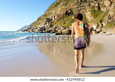 Full length portrait from behind of attractive surfer walking in sand by water