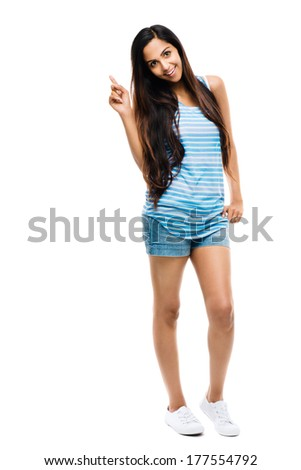 Full length portrait hipster Indian woman white background - stock photo