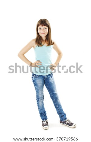 Full length portrait of a adorable girl standing. Isolated on white background  - stock photo