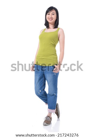 Full length portrait of a asian woman isolated on white - stock photo
