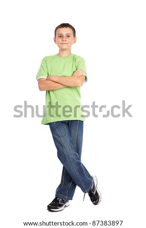 Full length portrait of a boy in green t-shirt isolated on white background - stock photo